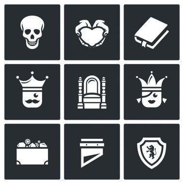 Vector Set of Hamlet tragedy Icons. Death, Love, Piece, Kingdom, Throne, Princess, Treasure, Sentinel.