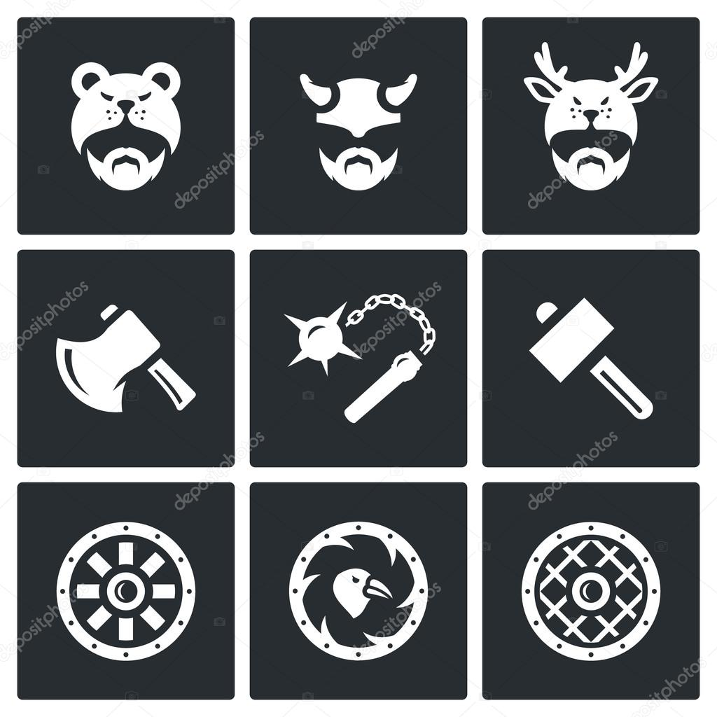 Vector Set of Viking Weapons Icons. Head, Man, Helmet, Ax, Mace, Hammer, Shield.