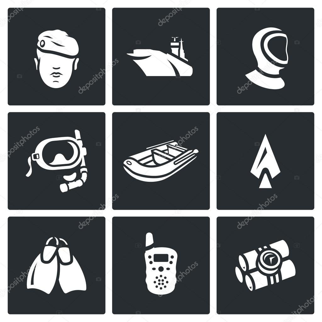 Vector Set of Commandos Icons. Soldier, Ship, Wetsuit, Underwater Mask, Boat, Harpoon, Flippers, Radio, Dynamite.