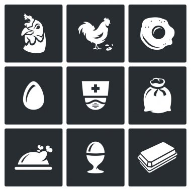 Farm Chicken Bird icon Isolated on a Black Background icon