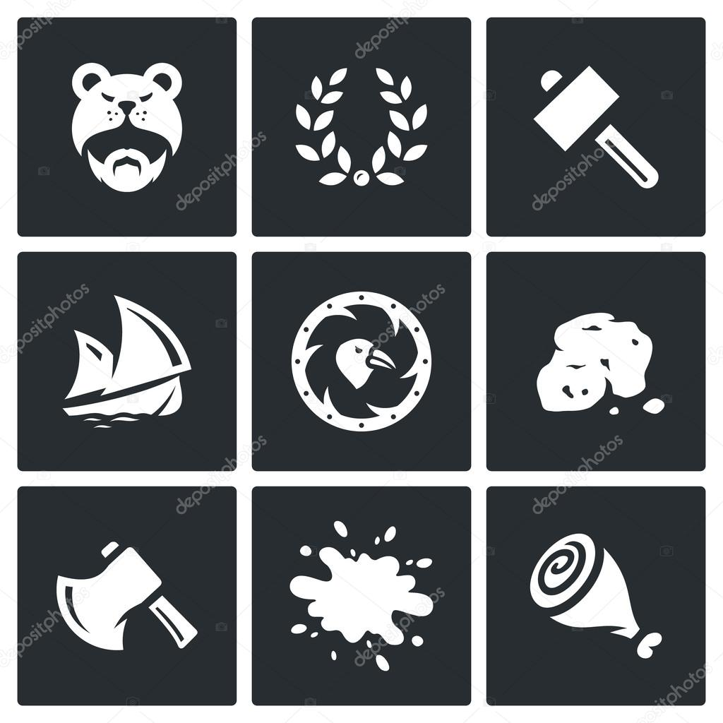 Vector Set of Viking life Icons. Barbarian, Laurel Wreath, Hammer, Ship, Shield, Gold, Ax, Blood, Meat.