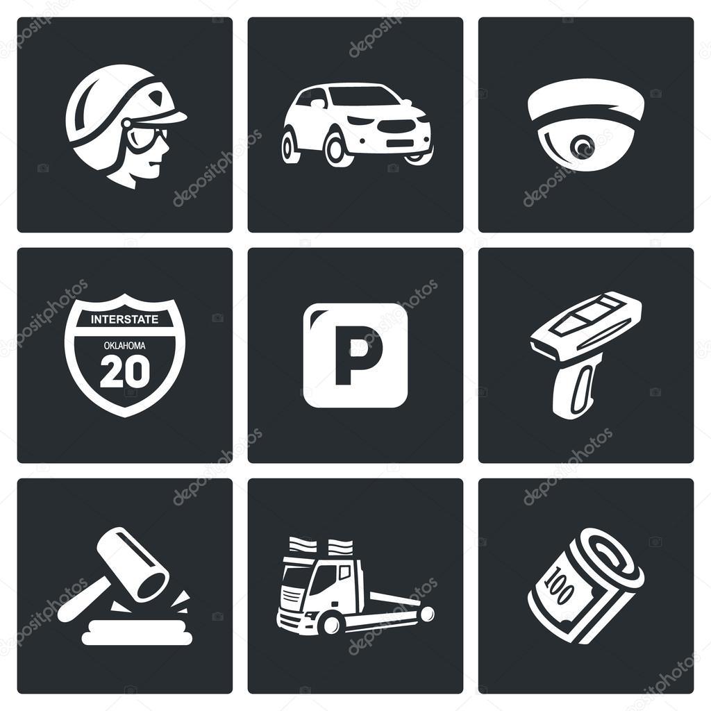 Vector conjunto de iconos de policía de patrulla de carretera. COP ...