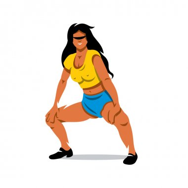 Vector Girl dancing Twerk Cartoon Illustration.