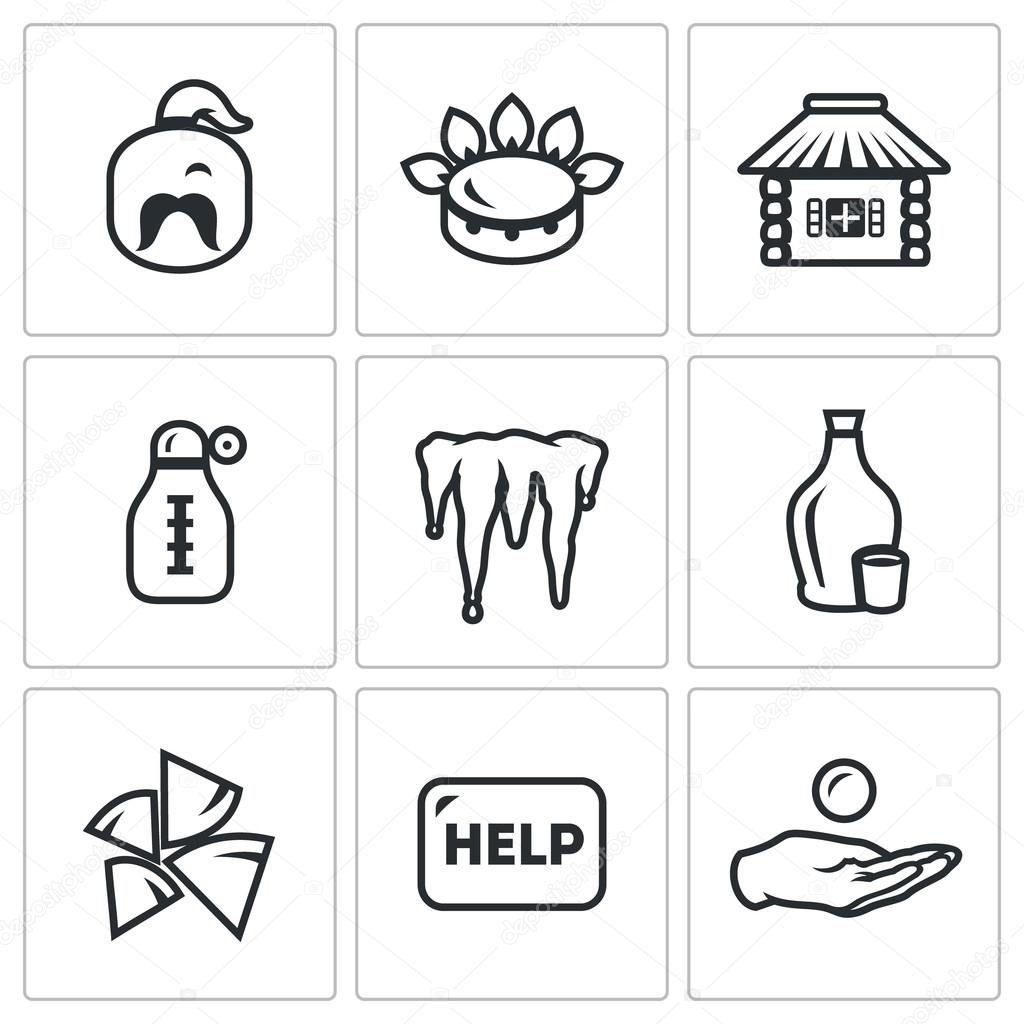Vector Set of Ukraine issues Icons. Cossack, Gas, House, Temperature, Winter, Alcohol, Fuel, Help, Loan.