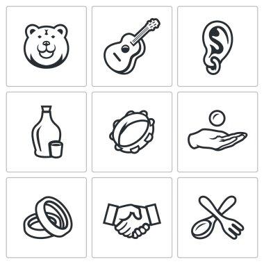 Vector Set of Gypsy Camp Icons. Bear, Guitar, Eear Ring, Alcohol, Tambourine, Beggar, Wedding, Agreement, Silverware.