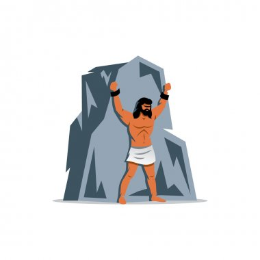 Prometheus on rock. In Greek mythology, titan, defender of people from the tyranny gods. Vector Illustration.