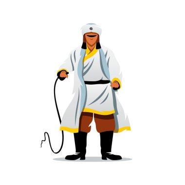 Vector Khan of the Golden Horde Cartoon Illustration.