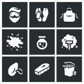 Vektorové sada na čištění po vraždě ikony. Muž, márnice, uniforma, krev, činidla, vysavač, protiprachovou masku, rakev, odpadkový koš