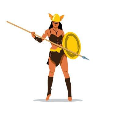 Vector Amazon girl with a spear Cartoon Illustration.