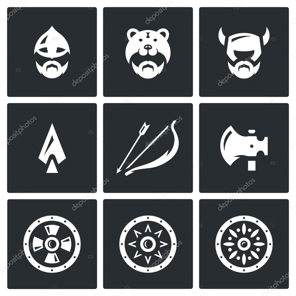 Vector Set of Viking Weapons Icons. Head, Man, Helmet, Ax, Spear, Bow and Arrow, , Shield.