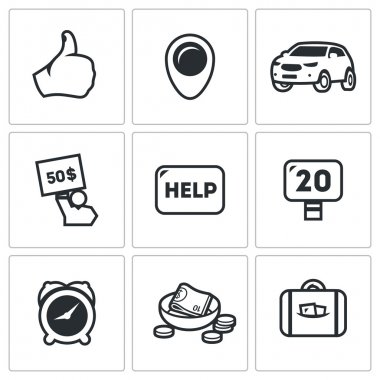 Vector Set of Hitchhiking tourism Icons. Thumb, place, Car, Price, Help, Road, Time, Low Cost, Luggage.