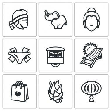 Vector Set of Thailand Icons. Muay Thai, elephant, Buddha, Prostitution, Fast Food, Travel, Shopping, Dragon Fruit, Walking Street.