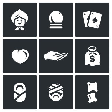 Vector Set of The Seer and Healer Icons. Grandma, Magic Ball, Tarot, Love, Divination palm, Wealth, Midwife, Healing, Chiropractic.