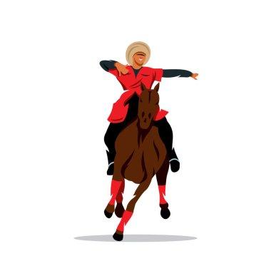 Vector North Caucasus rider Cartoon Illustration.