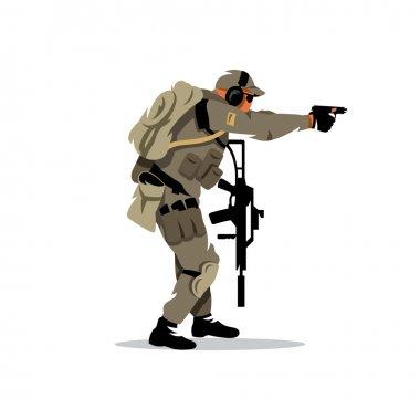 Vector Tactical shooting warrior Cartoon Illustration.