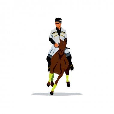 Georgian horseman. Vector Cartoon Illustration.