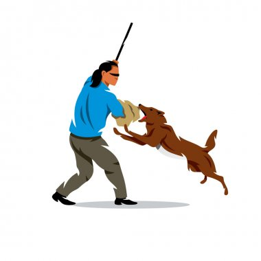 Vector Dog training. Biting pet and person. Cartoon Illustration.