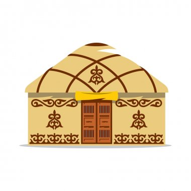 Vector Yurt Cartoon Illustration. House of Asian nomads.