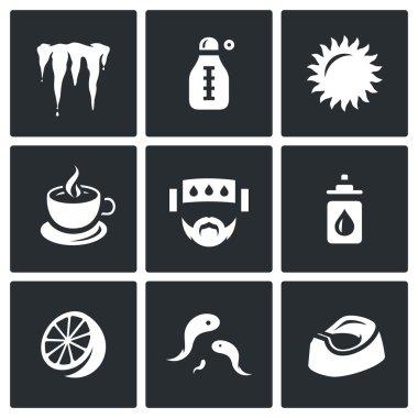 Vector Set of Disease Icons. Cooling, Temperature, Heat, Medicine, Headache, Nasal drop, Lemon, Leeches, Diarrhea.