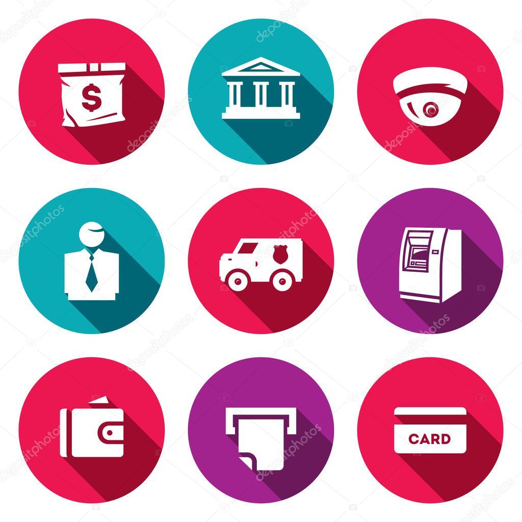 Servicios de banca a Set de iconos de vector. Bolsa de dinero, Banco ...