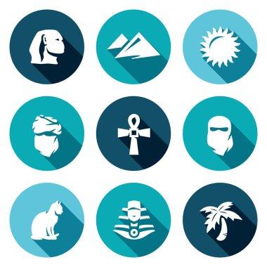 Vector Set of Egypt Icons. Sphinx, Dune, Sun, Bedouin, Artifact, Paranja, Cat, Pharaoh, Oasis.