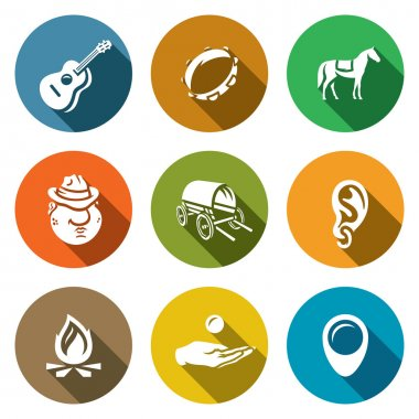 Vector Set of Gypsy Camp Icons. Guitar, Tambourine, Horse, Romany, Dray, Ring Ear, Bonfire, Beggar, Nomad.