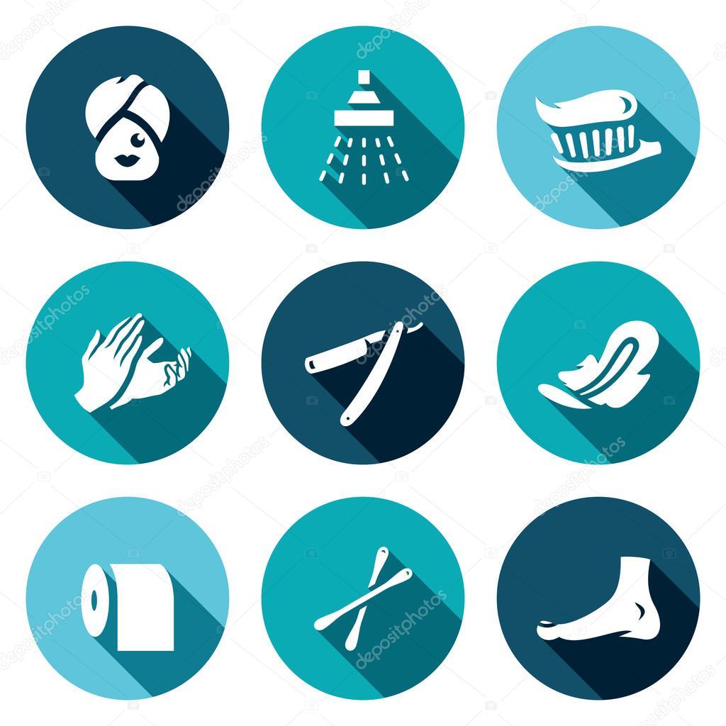 vector set d ic nes de l hygi ne dents de femme douche nettoyage massage rasage tampons. Black Bedroom Furniture Sets. Home Design Ideas