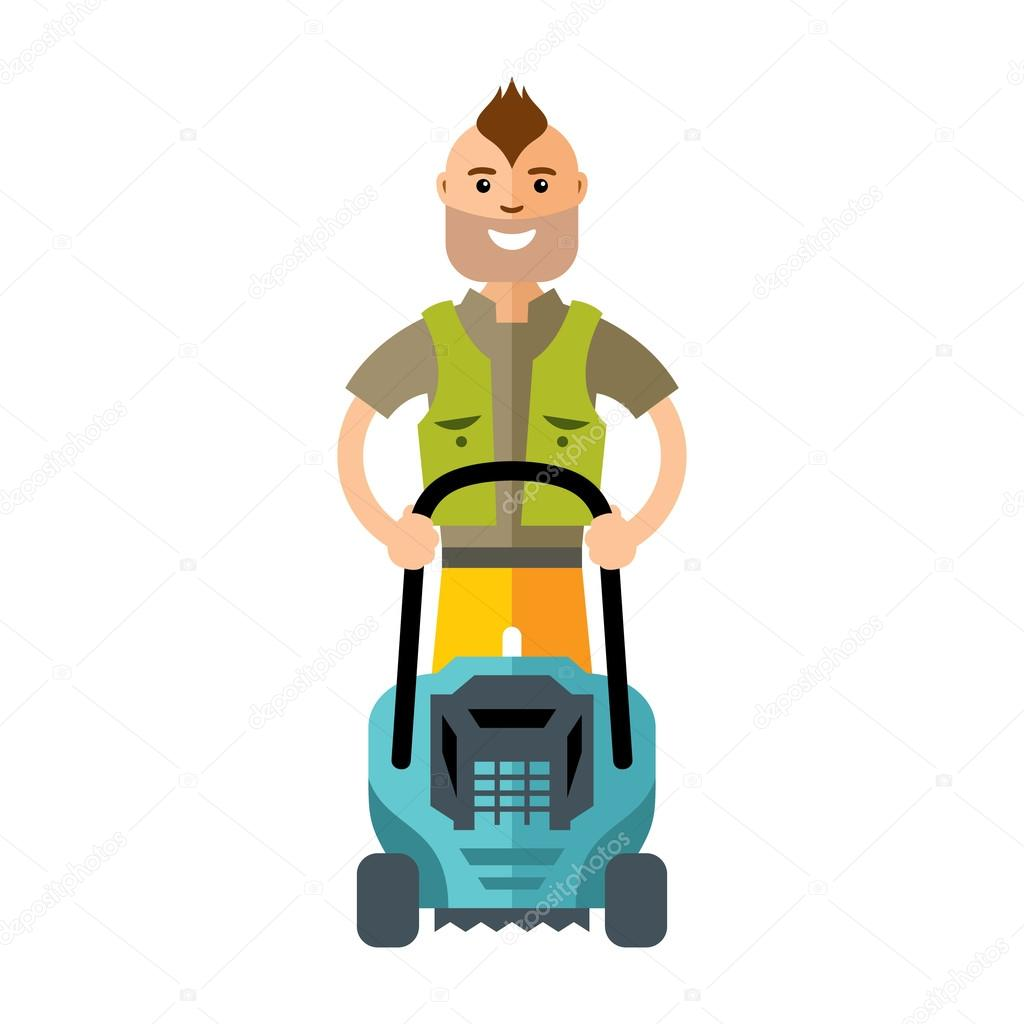 Vector Lawnmower. Man with lawn mower. Flat style colorful Cartoon illustration.