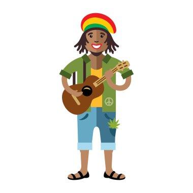 Vector Rastafarian. Reggae Artist. Flat style colorful Cartoon illustration.