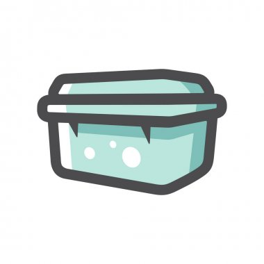 Plastic food container Isolated on a White Background icon