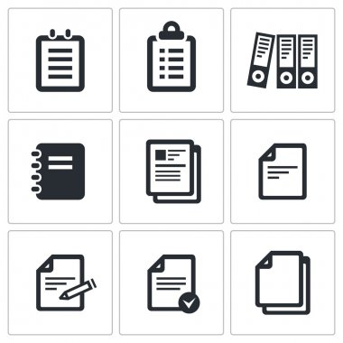 Documents icon collection on a black background stock vector