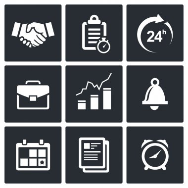 Office business icon collection on a black background clip art vector