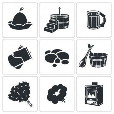 Bath Accessories Icons Set