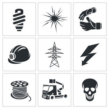 Electricity, power Icons set