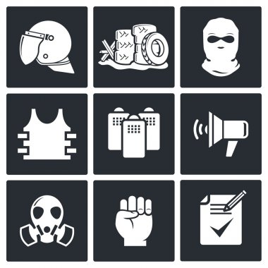 Riots on  street  icon collection
