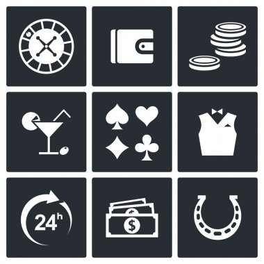 Casino and luck icon set