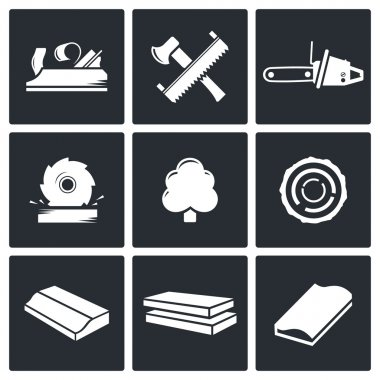 Woodworking, craft  Icons set