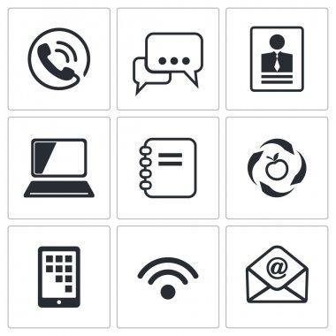 Communication, network icons set