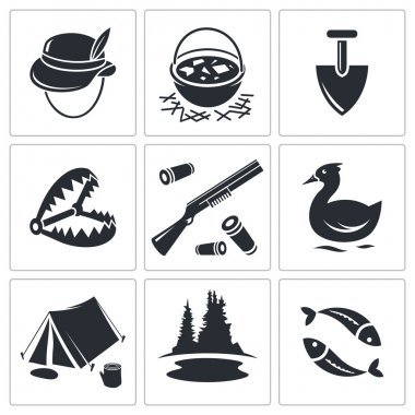 Hunting and fishing icons collection
