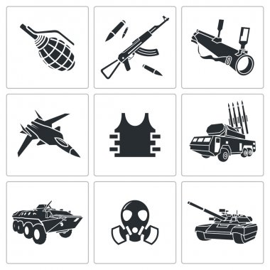 Armament, weapon Icon set