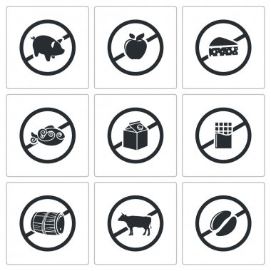 Prohibiting signs  Icons Set