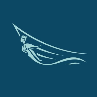 Winged woman figure on    ship