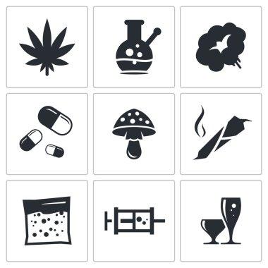 Drugs, addiction icons set