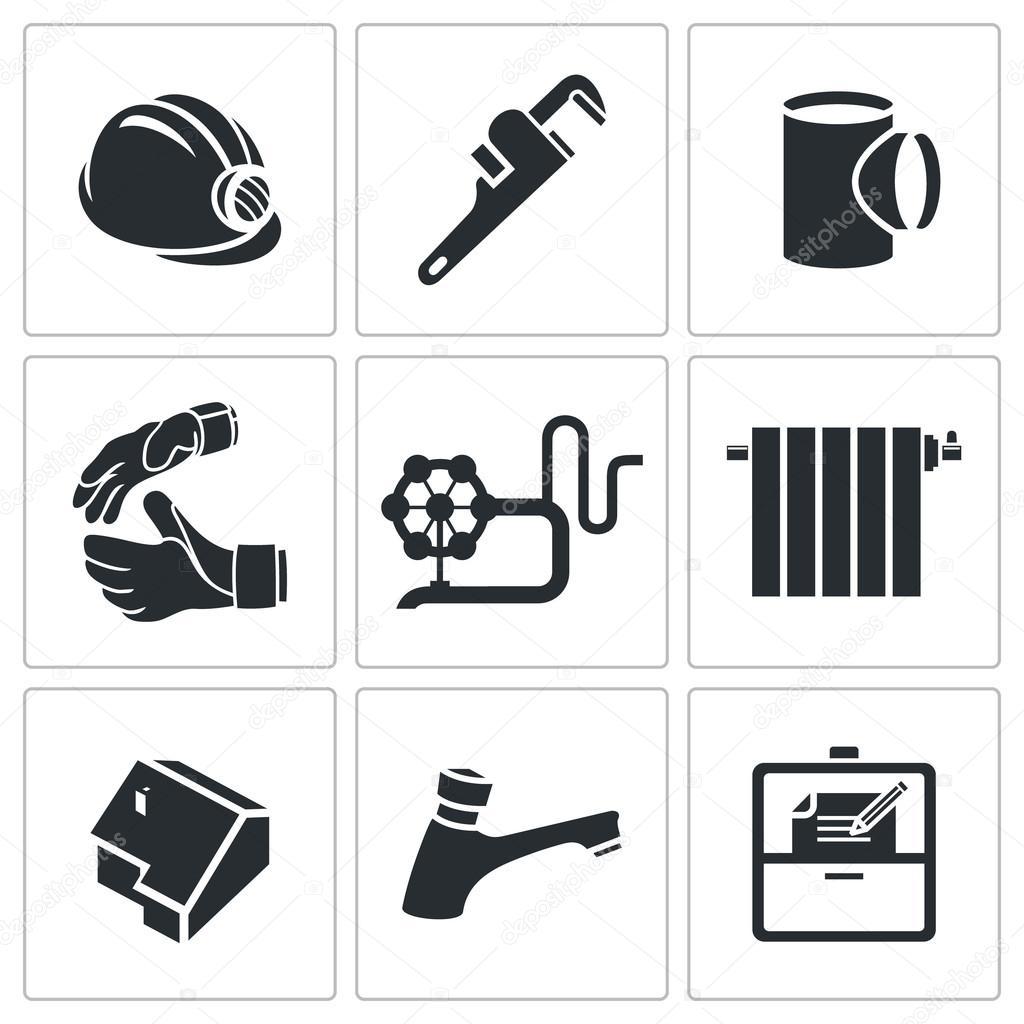 Plumber profession  Icons Set