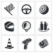 Fotografie Závodní auto a čerpací sada ikon