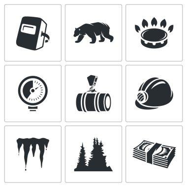 Gas transit  Icons Set