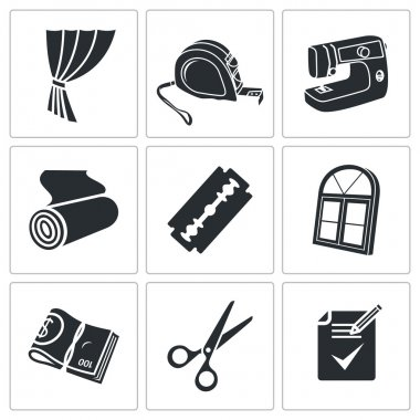 Sewing curtains service  Vector Isolated Flat Icons collection on a white background clip art vector