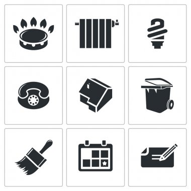 Utilities, domestic technology  Icons Set