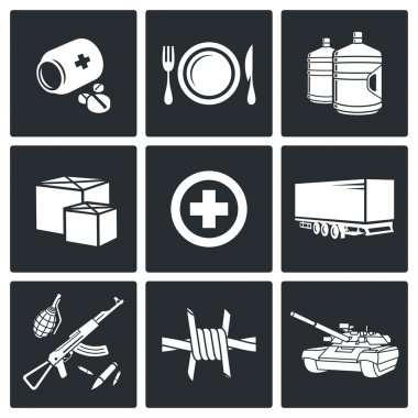 Humanitarian relief Icons set