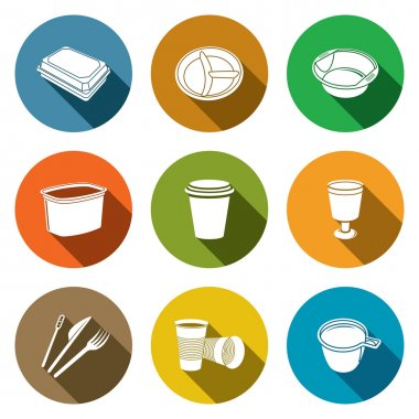 Disposable tableware Icons